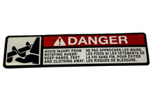 Decal danger foot sy lawnmower mu