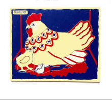 Wooden simple puzzle of a hen 9 3 4