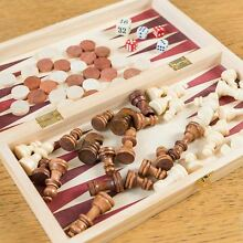 34cm 3in1 folding wooden chess set