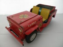 Old f d fire chief litho jeep