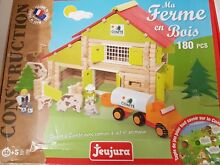 Wooden construction farm toy in