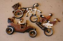 3 wall plaques horse buggy