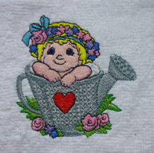 Cherub watering can embroidered