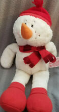 Red and white snowman w scarf and