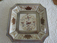 Hand painted decorative swan plate