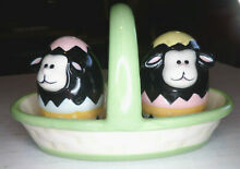 3 pc salt pepper shakers lambs