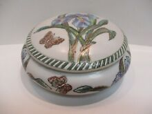 Iris and butterfly round trinket