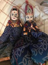 Pair of indian puppets dolls carved