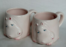 Pair fitz floyd ff hippo tea coffee