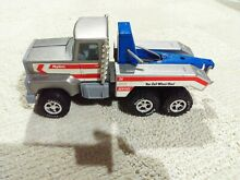 Metal tow truck gray and blue good