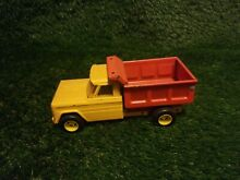 Metal dump truck red and yellow