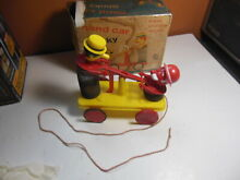 Pull toy hand car handcar kids rare
