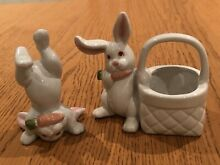 Tumbling white rabbit and bunny
