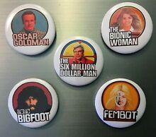 Bionic woman pin button or magnets
