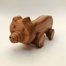 Traditional wooden toy piggy 14 x