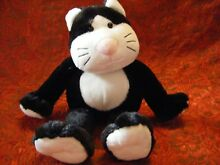 Black white cat soft toy 12 approx