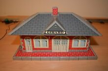 Marx toy train station tin 1930s