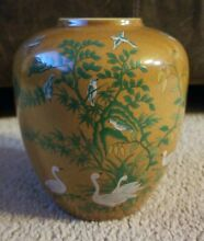 Swan birds hand painted vase 5840