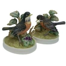 Pair bisque porcelain robins by