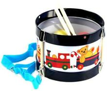 New kids tin toy drum w two drum