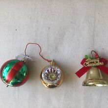 Red green gold bell baubles