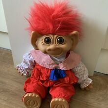Large doll troll red hair in a red
