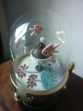 Gold fish glass dome wind up clock