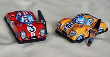 Japan tin toy two new wind up auto