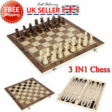 3in1 folding wooden chess set board