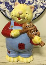 Ceramic piggy coin bank tabby cat