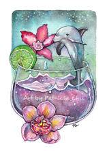 Dolphin and orchids 5x7 limited