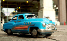 Buick blue 1950s tin toy friction