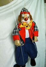 Old toy puppet doll clown a wooden