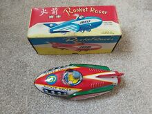 Tin plate rocket racer friction toy