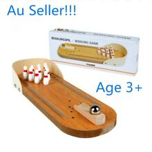 Mini wooden bowling table game