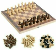 3 in 1 folding wooden chess set