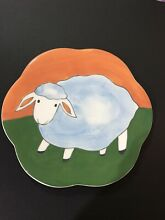 Sheep hand painted luncheon plate 9