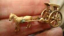 Miniature gilt metal horse and cab