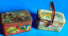2 tindeco candy tin boxs in use