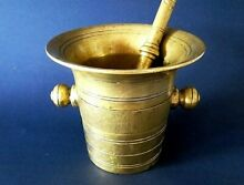 Heavy large bronze brass mortar and