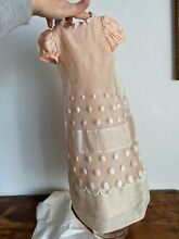 Embroyed lace cotton and silk dress