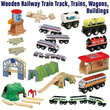 Wooden railway train track wagons