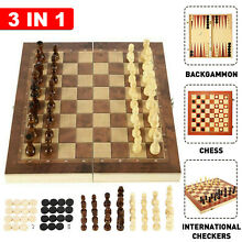 Folding wooden chess 3in1 set board