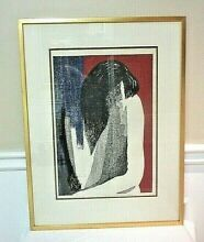 Mid century woodblock print by