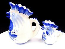 Art pottery 2 piece blue and white