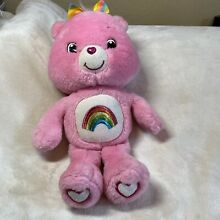 Cheer bear rainbow bow bright pink