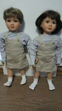 2 twin dolls matching outfits