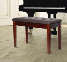 Faux leather piano bench wood