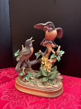 Group of robin by wooden stand 11 x