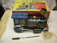 Bubble locomotive train tin toy b o